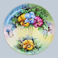 """Gorgeous Bavaria 1900's Hand Painted """"Pink, Blue, & Yellow Pansy"""" 10-1/2"""" Floral Plate by Artist, """"Bess"""""""