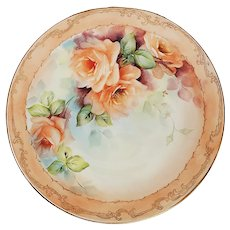 """Charming Bavaria 1900's Hand Painted """"Peach Roses"""" Floral Plate by Artist, """"Jean Helm"""""""