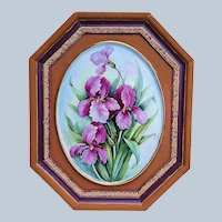"""Beautiful Bavaria 1900's Hand Painted """"Purple Iris"""" 16-3/4"""" x 13-3/4"""" Floral Framed Plaque, Artist Signed"""