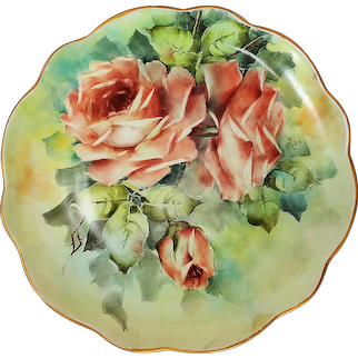 """Gorgeous & Vibrant Bavaria 1900's Hand Painted Large """"Peach Roses"""" Floral Plate by Artist, """"Jean Helm"""""""