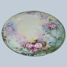 """Exceptional Bavaria 1900's Hand Painted """"Red & Pink Roses"""" 10-1/2"""" Floral Plate Artist Signed"""