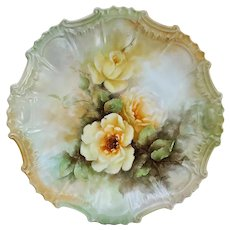 """Fabulous Bavaria 1900's Hand Painted """"Yellow Roses"""" Floral Plate by Artist, """"B. Benton"""""""