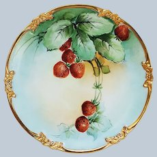 """Attractive Vintage GDA Limoges France 1910 Hand Painted """"Strawberries"""" Fruit Plate by Early Chicago Artist, """"William Wands"""""""