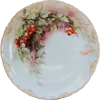 "Master Decorator George Leykauf Rosenthal Bavaria 1916 Hand Painted ""Red Currant"" Fruit Decor Plate"