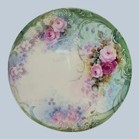 """Stunning Bavaria 1900's Hand Painted """"Red & Pink Roses"""" 8-3/8"""""""" Floral Plate by Artist """"Jean Helm"""""""