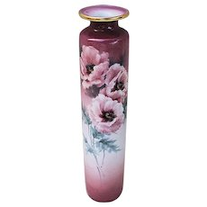 """Beautiful Germany Gerold-Porzellan 1900's Hand Painted """"White Wine Red Roses"""" 9"""" Floral Vase"""