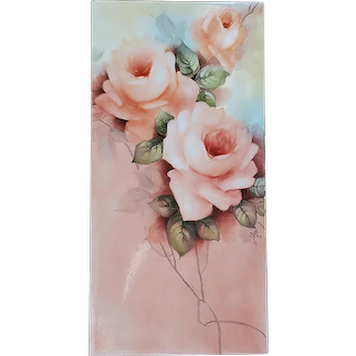 """Stunning Bavaria 1900's Hand Painted """"Peach Roses"""" 12"""" x 6"""" Floral Plaque, Artist Signed"""