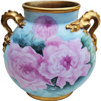 """Fabulous Giraud Limoges France 1900's Hand Painted """"Pink Roses"""" 9-3/8'"""" Dragon Handle Pillow Vase by Artist, """"Beverly Miller"""""""