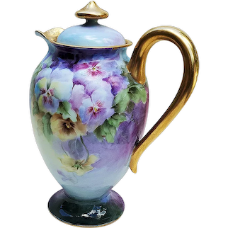 """Spectacular Haviland France Christmas 1906 Hand Painted """"Purple, Yellow, & White Pansies"""" Floral Chocolate Pot by Artist, """"A. G."""""""