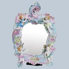 """Gorgeous German 1900's Hand Painted Putti's Decor 14"""" x 10"""" Fancy Scroll Vanity Mirror, Artist Signed"""