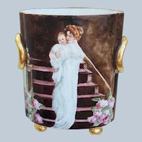 """Charming Vintage Heinrich & Co. Selb Bavaria 1920's Hand Painted """"Mother & Daughter"""" Footed Scenic Cache Pot"""