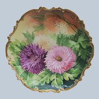 """Striking Vintage Lazeyras, Rosenfeld, & Lehman Limoges France 1900's Hand Painted """"Purple, Pink, White, & Peach"""" Zinnias Floral Rococo Style Charger"""