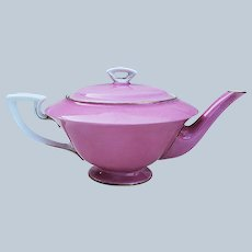 "Elegant Royal Worcester 1893 Hand Painted ""Fuscia Pink"" Tea Pot Made for Spaulding & Co. Chicago"