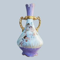 """Charming Vintage Limoges France Pre-1900 Hand Painted """"Three Putti's Frollicking In a Bouquet of Flowers"""" 8-3/4"""" Scenic Vase"""
