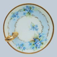 """Beautiful Vintage Bavaria 1920's Hand Painted """"Forget Me Not"""" 6"""" Floral Nappy by Artist, """"Kimmel"""""""