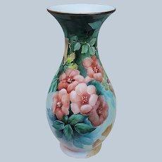 "Spectacular 12-1/4"" Bavaria 1900's Hand Painted ""Deep Peach Trumpet"" Floral Vase"