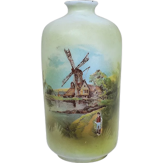 """Scare RS Prussia 1900 """"Windmill with Man Walking Down the Lane"""" 4"""" Sample Size Scenic Vase"""