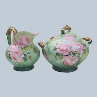 """Gorgeous Tressemann & Vogt Limoges France 1902 Hand Painted """"Pink Roses"""" Floral Sugar & Creamer Set by the Artist, """"Edith"""""""