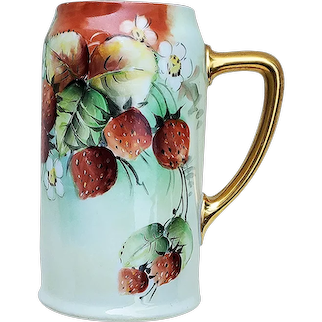 """Outstanding Bavaria 1900's Hand Painted """"Strawberries"""" Fruit Decor Stein by Pickard Artist, """"Minnie Luken"""""""