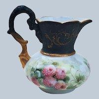 "Charming Limoges 1900's Hand Painted ""Deep Pink & Burnt Orange Mums"" Floral Cream Pitcher"