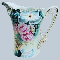 """Stunning RS Prussia 1900 Vibrant """"Pink & Yellow Roses"""" Blown Out Carnation Mold Floral Pitcher"""