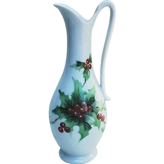 """Charming Bavaria 1900's Hand Painted Christmas """"Holly & Berry"""" 8-3/4"""" Holiday Ewer"""
