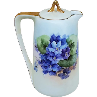 """Beautiful Vintage RS Prussia 1900's Hand Painted """"Violets"""" Floral Syrup Pot Dispenser by Artist, """"A.P. Chase"""""""
