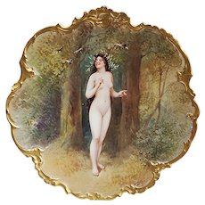 """Spectacular 12-1/2"""" Blake & Henderson Limoges France 1900 Hand Painted """"Long Brown Hair Maiden"""" Scenic Nude Charger by the Artist, """"Dubois"""""""