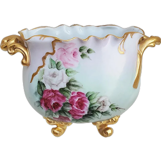 """Stunning Bavaria 1900's Hand Painted """"Red, Pink, & White Roses"""" 4-Footed Floral Jardiniere, Artist Signed"""