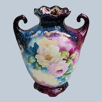 """Breathtaking Bavaria 1900's Hand Painted """"Pink & Yellow Roses"""" Vibrant Floral Vase by Artist, """"Joanna Bardee"""""""