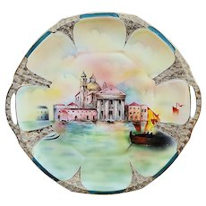 """Beautiful Vintage Royal Bayreuth 1900's Hand Painted Italian """"Venice Scene"""" 11"""" Picturesque Plate"""