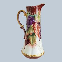 """Lavish 15-1/2"""" Tressemanes & Vogt Limoges France 1903 Hand Painted """"Red, Green, & Purple Grapes"""" 14"""" Rococo Style Tankard by Artist, """"N. Bowler"""""""