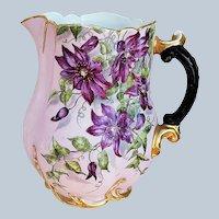 "Gorgeous Haviland & Co. Limoges France 1890's Hand Painted ""Purple Clematis"" 8-1/2"" Floral Pitcher"