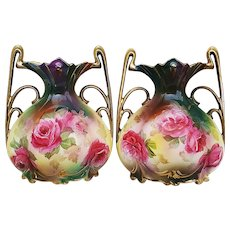 """Gorgeous & Scarce RS Prussia 1900 Vibrant Hand Painted Art Nouveau """"Red & Pink Roses"""" Sample Size Pillow Vases"""