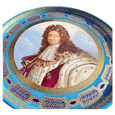 "Magnificent 20"" Sevres Vintage Pre-1900 Hand Painted ""King Louis XIV"" Portrait Tray"