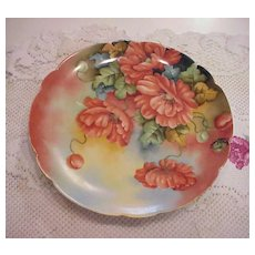 """Stunning Limoges 1900's Hand Painted """"Large Deep Burnt Orange Poppies"""" 8-7/8"""" Floral Plate by Artist """"Goldie Fess"""""""