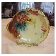 "Attractive J.P.L. France Limoges 1900's Hand Painted Fancy ""Poppy"" 10-1/8"" Bowl by Artist ""Higg"""