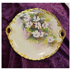 """Gorgeous Haviland France 1900's Hand Painted """"Lavender & White Pansy"""" 10-3/4"""" Plate by Artist """"M.M."""""""