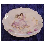 "Exceptionally Decorated Vintage 1901 Hand Painted Limoges France Nude 12-1/2"" Charger of the Goddess of Spring Growth ""Persephone"" by Artist, ""Pearl E. Smith"""