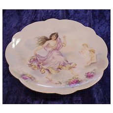 """Exceptionally Decorated Vintage 1901 Hand Painted Limoges France Nude 12-1/2"""" Charger of the Goddess of Spring Growth """"Persephone"""" by Artist, """"Pearl E. Smith"""""""