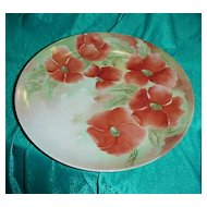 "KPM Colorful Vintage 1900 HP ""Red Poppies"" 9-5/8"" Plate"