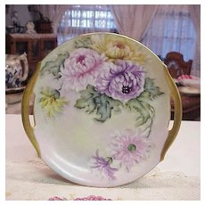 "Attractive Early 1920's Freiberg China Decorating Studio of Chicago ""Lavender, Pink, & Yellow Mums"" 10-1/8"" Plate Signed Freiberg"