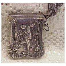 Vintage 1900 Sterling Silver Match Safe Vesta W/Full Figure Nude Nouveau Lady