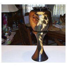 "Rare Ricky Wisecarver 1984 Indian Jardiniere & Pedestal 16-3/8"" Tall"