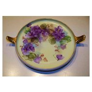 "Attractive & Colorful Royal Bavaria Hand Painted ""Violets"" 2-Looped Handle 8-3/4"" Tray"