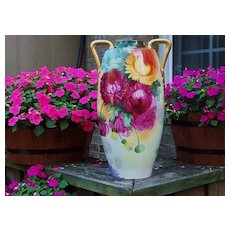 "Spectacular 1900's Limoges France Colorful Hand Painted ""Mums"" 17-1/4"" Vase by Artist ""Edna Plack"""