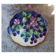 """Attractive 1920-30's Bavaria Hand Painted """"Blackberry"""" 10-1/2"""" Plate by Artist, """"G. Lewis"""""""