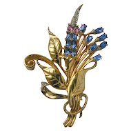 Large 4 ½ inch Goldtone Floral Brooch with Rhinestones