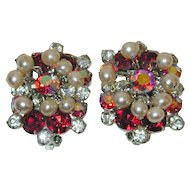 Juliana D&E Red Rhinestone Earrings with faux Pearl Dangles