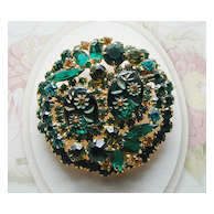 Juliana D&E Green Floral Carved Glass Rhinestone Pin Brooch